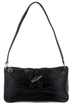 Longchamp Embossed Leather Shoulder Bag - BLACK - STYLE