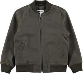 Molo Hoya Leather Army Bomber Jacket, Size 4-10