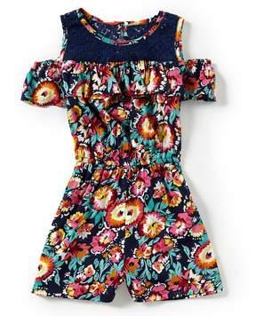 Bonnie Jean Little Girls 4-6X Floral Lace Romper