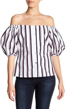 WAYF Off-the-Shoulder Stripe Blouse
