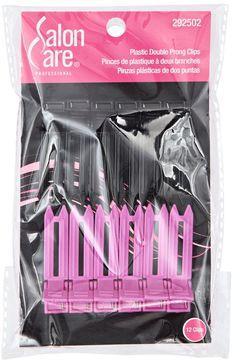 Salon Care Plastic Double Prong Curl Clips