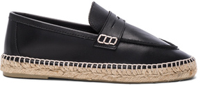 Loewe Leather Loafer Espadrilles in Black.