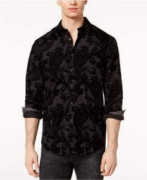 INC International Concepts I.n.c. Men's Flocked Paisley Shirt, Created for Macy's
