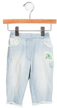 Christian Dior Girls' Patch-Accented Wide-Leg Jeans w/ Tags