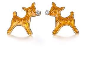 Alpha A A Christmas Gold Tone Rudolf Earrings
