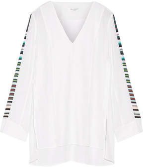 Equipment Norma Striped Washed-silk Tunic - White
