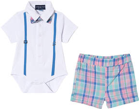 Andy & Evan White Polo Shirtzie with Bow Tie and Plaid Shorts