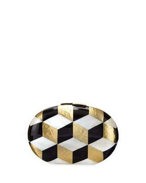 Rafe Liz Geometric Oval Minaudiere, Black/White/Gold