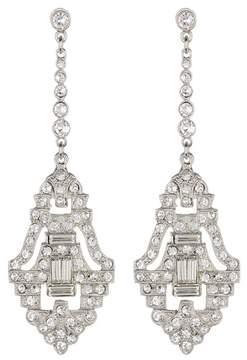 Ben-Amun Pave & Bezel Set Pave Crystal Deco Drop Earrings