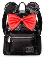 Disney Minnie Mouse Mini Backpack by Loungefly - Black Sequined