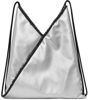 MM6 MAISON MARGIELA Silver Faux-Leather Backpack