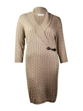 Calvin Klein Women's Sparkle Side-Buckle Sweater Dress