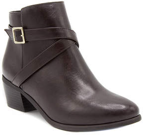 London Fog Brown Buckle Bootie