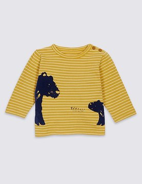 Marks and Spencer Pure Cotton Bear Print T-Shirt
