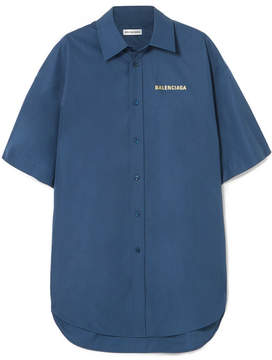 Balenciaga Oversized Printed Cotton-poplin Shirt - Navy