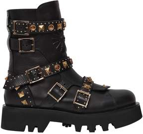 Fausto Puglisi 45mm Studded Leather Combat Boots
