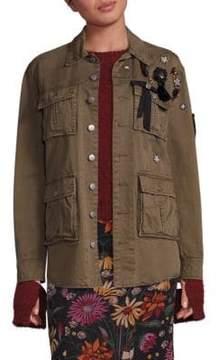 Cinq à Sept Embroidered Long-Sleeve Cotton Jacket