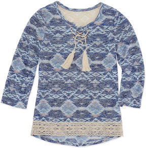 Beautees 3/4 Sleeve Pattern Tee Lace Up Neck - Girls' 7-16