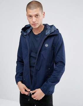Pretty Green Beckford Jacket with Printed Paisley Hood in Navy