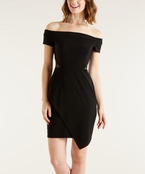 Bebe Black Tulip-Hem Off-Shoulder Dress