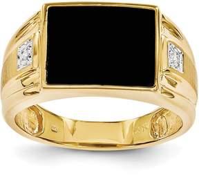 Ice 14k Men's Onyx and Diamond Ring