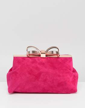 Ted Baker Statement Bow Clutch in Suede