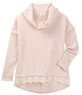 Ten Sixty Sherman Long Sleeve Cowl Neck Lace Detail Sweater (Big Girls)