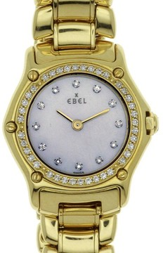 Ebel Classic Sports 8057902 18K Yellow Gold with Diamonds and Mother of Pearl Dial Quartz 26mm Womens Watch