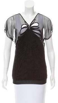 Vivienne Tam Embroidered Sheer Top