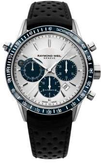 Raymond Weil Leather Strap Automatic Chronograph Watch