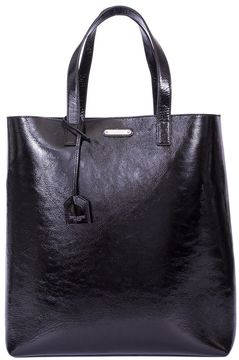 Saint Laurent Black Varnish Shopping Bag - BLACK - STYLE