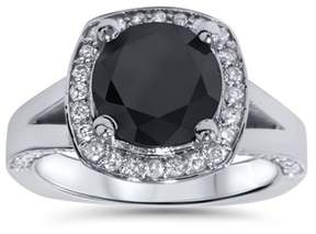 Black Diamond Pompeii3 3 5/8 Ct Halo Split Shank Engagement Ring 14k White Gold.