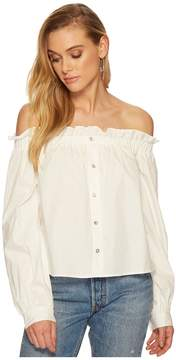 J.o.a. Off the Shoulder Button Down Top Women's Clothing