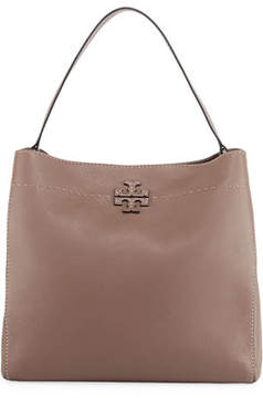 Tory Burch McGraw Pebbled Leather Hobo Bag - BLACK - STYLE
