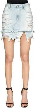 Diesel Destroyed Cotton Denim Skirt