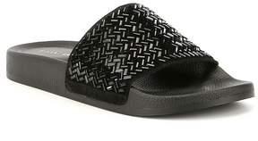 Gianni Bini Gemellatwo Jeweled Hotfix Suede Pool Slide Sandals