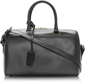 Saint Laurent Duffle 6 Black Leather Satchel - BLACK - STYLE