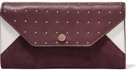 Maje Two-Tone Paneled Suede And Studded Leather Wallet