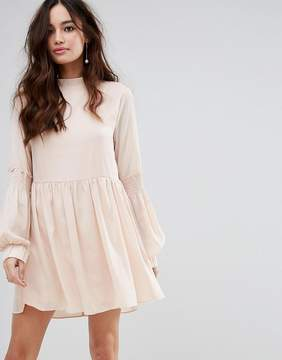 Fashion Union High Neck Smock Dress With Shirring