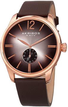 Akribos XXIV Mens Brown Strap Watch-A-916rg