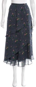 Band Of Outsiders Floral Printed Silk Midi Skirt w/ Tags