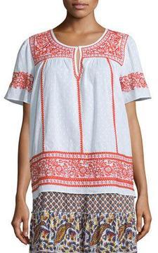 Calypso St. Barth Vinduri Short-Sleeve Embroidered Top, Coconut