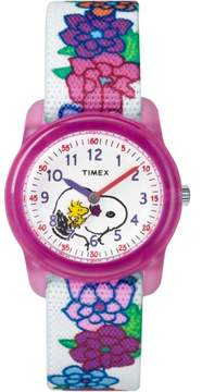 Timex Girls Time Machines x Peanuts: Snoopy & Flowers Watch, Elastic Fabric Strap