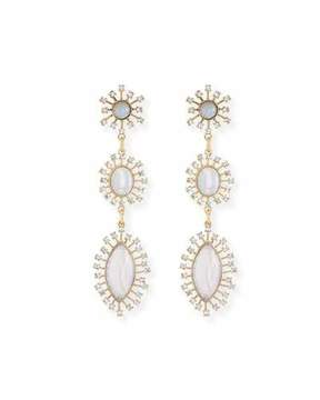 Sequin Crystal Bezel Three-Drop Earrings