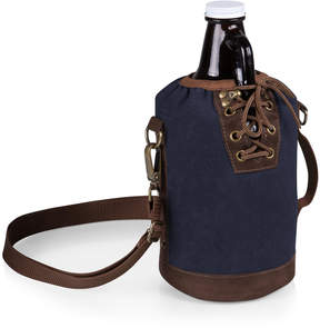 Picnic Time Navy & Brown Insulated Growler Tote & Amber Glass Growler