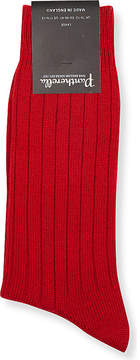 Pantherella Mens Red Packington Ribbed Socks