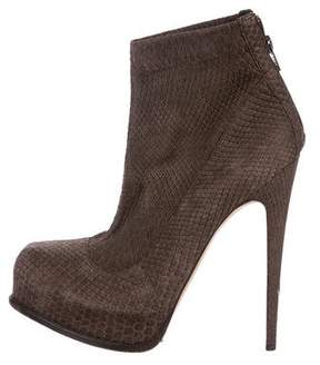 Brian Atwood Embossed Platform Ankle Boots