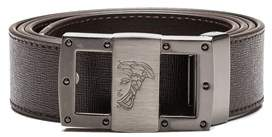 Versace Men's Medusa Steel Buckle Saffiano Leather Belt Brown.