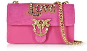 Pinko Love Suede And Leather Shoulder Bag W/crystals