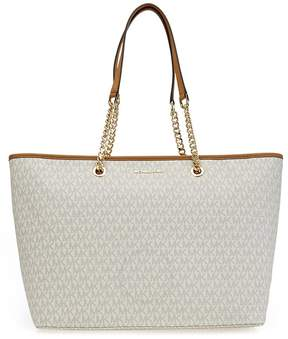 Michael Kors Women's Medium Jet Set Travel Multifunction Leather & Chain Top-Handle Tote - Vanilla - ONE COLOR - STYLE